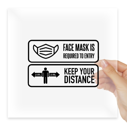 Наклейка Face mask Keep your distance