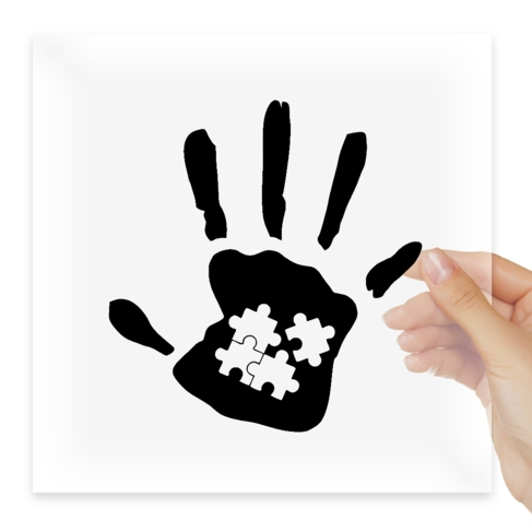 Наклейка Autism Awareness Hand Print Puzzle Piece