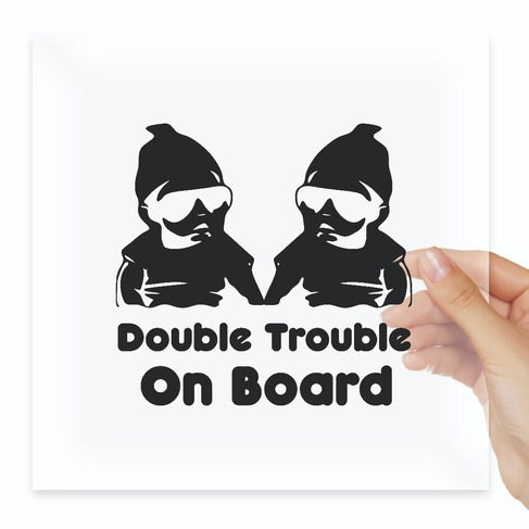 Наклейка Double Trouble On Board Vinyl Decal Twins Baby